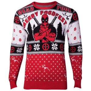 Marvel Deadpool Christmas Knitted Jumper - Red