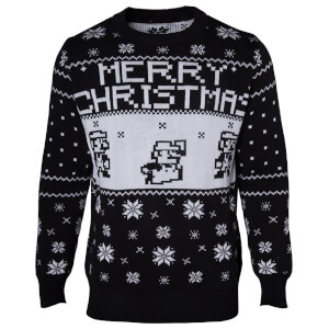 Nintendo Super Mario Fairisle Christmas Jumper - Black