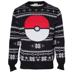 Pokémon Pokéball Christmas Knitted Jumper - Black