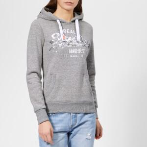 Superdry Women's Vintage Logo Sequin Entry Hoodie - Grey Heathered