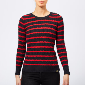 Superdry Women's Croyde Bay Cable Knit Jumper - Navy/Red Stripe