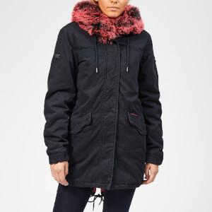 Superdry Women's Hawk Coloured Faux Fur Parka - Dark Navy/Pink Fur