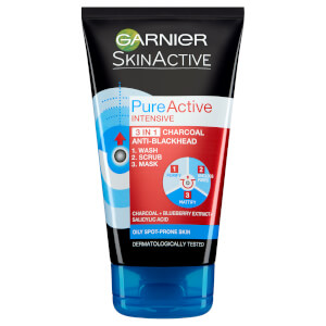 Garnier Pure Active Intensive 3 in 1 Anti-Blackhead Charcoal Wash, Scrub and Mask 150 ml