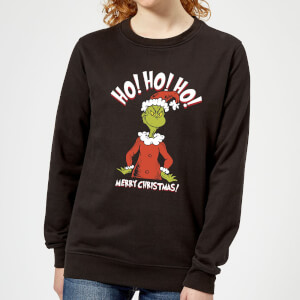 The Grinch Ho Ho Ho Smile Women's Christmas Sweatshirt - Black