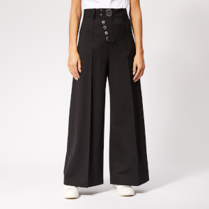 Alexander Wang Women's Snap Fly Wide Leg Trousers - Black