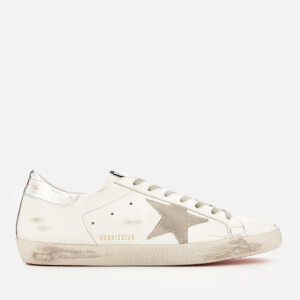 Golden Goose Deluxe Brand Men's Superstar Leather Trainers - White/Orange Sole