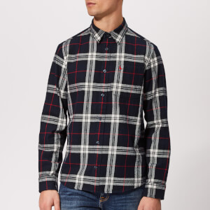 Jack Wills Men's Langworth Heavy Weight Flannel Shirt - Navy