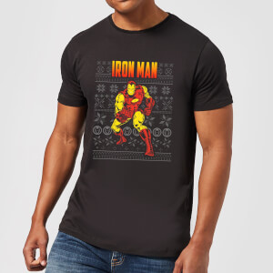 Marvel Avengers Classic Iron Man Men's Christmas T-Shirt - Black