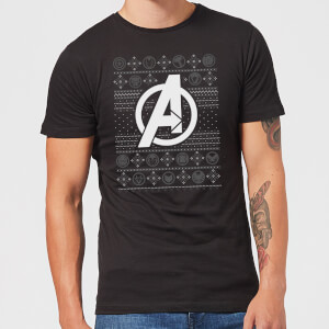 Marvel Avengers Logo Men's Christmas T-Shirt - Black