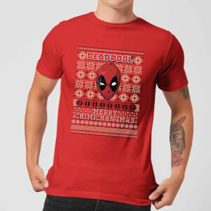 Marvel Deadpool Men's Christmas T-Shirt - Red