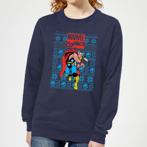 Marvel Avengers Thor Women's Christmas Sweatshirt - Navy
