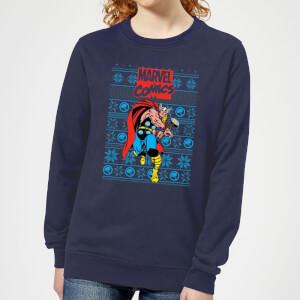 Marvel Avengers Thor Women's Christmas Sweater - Navy