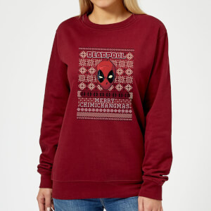 Marvel Deadpool Women's Christmas Sweater - Burgundy
