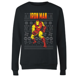 Marvel Avengers Classic Iron Man Women's Christmas Sweater - Black