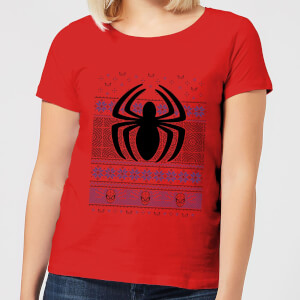 Marvel Avengers Spider-Man Logo Women's Christmas T-Shirt - Red