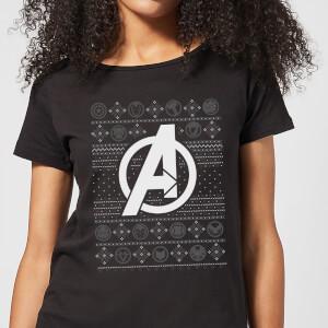 Marvel Avengers Logo Women's Christmas T-Shirt - Black
