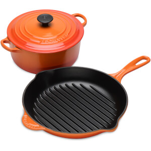 Le Creuset Classic Casserole and Round Grill 20cm Pan Set - Volcanic (Black Friday)