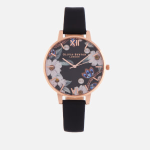 Olivia Burton Women's Bejewelled Florals Watch - Black & Rose Gold