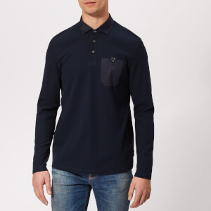 Ted Baker Men's Leopard Long Sleeve Polo Shirt - Navy