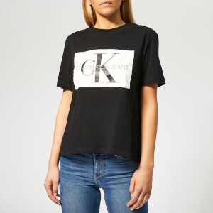 Calvin Klein Jeans Women's Iconic Monogram Box Straight T-Shirt - CK Black/White