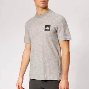 adidas Men's ID Box Logo 3 Stripe Short Sleeve T-Shirt - Grey Heather