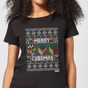 Rubiks Merry Cubemas Women's Christmas T-Shirt - Black