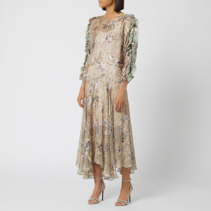 Preen By Thornton Bregazzi Women's Satin Devore Scarlett Dress - Stone Gypsy Floral
