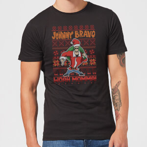 Johnny Bravo Johnny Bravo Pattern Men's Christmas T-Shirt - Black