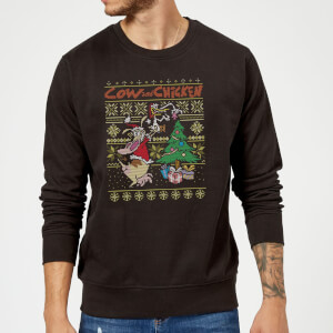 Cow and Chicken Cow And Chicken Pattern Christmas Sweatshirt - Black