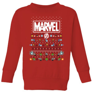 Marvel Avengers Pixel Art Kids Christmas Sweater - Red