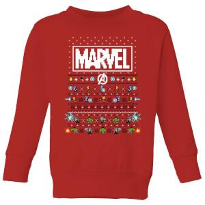 Felpa Marvel Avengers Pixel Art Kids Christmas - Rosso
