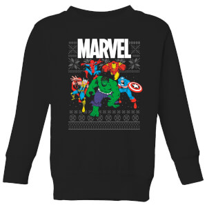 Marvel Avengers Group Kids Christmas Sweater - Black