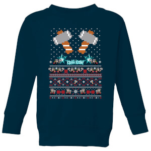 Marvel Avengers Thor Pixel Art Kids Christmas Sweatshirt - Navy