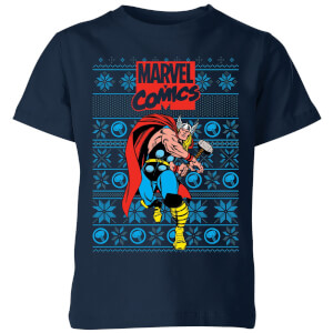 Marvel Avengers Thor Kids Christmas T-Shirt - Navy