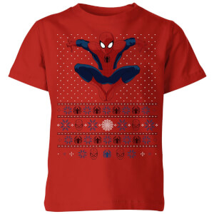 Marvel Avengers Spider-Man Kids Christmas T-Shirt - Red