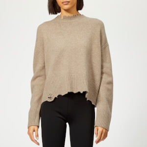 Helmut Lang Women's Distressed Crew Real Jumper - Beige