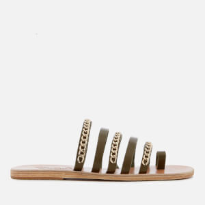 Ancient Greek Sandals Women's Niki Chains Leather Slip-On Sandals - Khaki/Gold