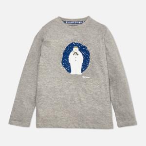 Barbour Boys' James Long Sleeve Snowman T-Shirt - Grey Marl