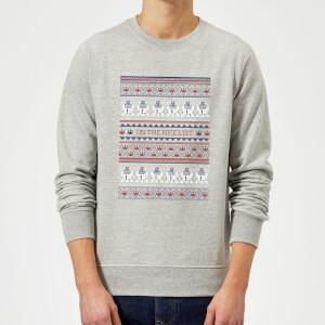 Star Wars On The Nice List Pattern Christmas Sweatshirt - Grey