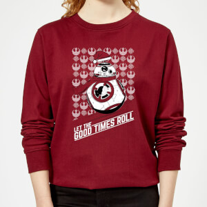 Star Wars Let The Good Times Roll Women's Christmas Sweater - Burgundy