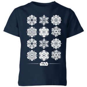 Star Wars Snowflake Kids Christmas T-Shirt - Navy