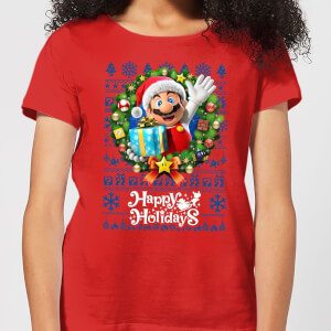 Nintendo Christmas Happy Holidays Mario Damen T-Shirt - Rot