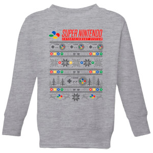 Nintendo SNES Pattern Kid's Christmas Sweatshirt - Grey