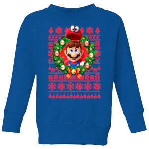 Nintendo Christmas Mario And Cappy Kinder Pullover - Royal Blau