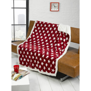 Rapport Stars Fleece Blanket Throw - Red