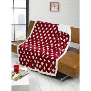 Rapport Stars Fleece Blanket Throw - Red