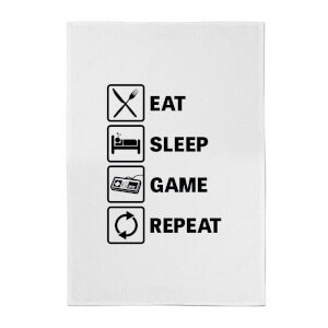 Eat Sleep Game Repeat Cotton Tea Towel