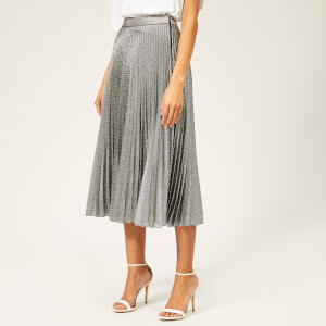 4faea95914 Christopher Kane Women's Pleated Skirt Lame Mesh - Black/Silver
