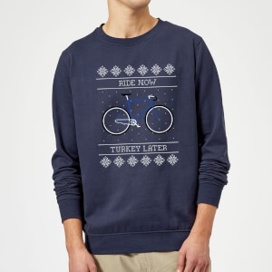 Ride Now, Turkey Later Christmas Sweater - Navy