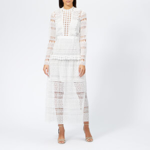 Self-Portrait Women's Spiral Lace Panelled Midi Dress - Ivory